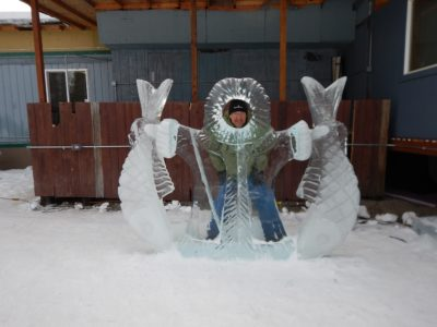 Ice sculpture with fish